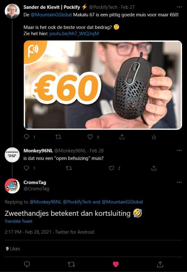 reactie cromotag op twitter