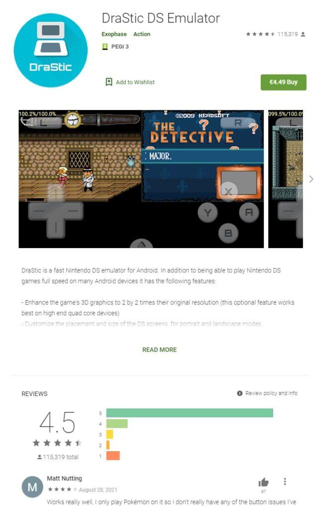 drastic ds emulator op de google play store